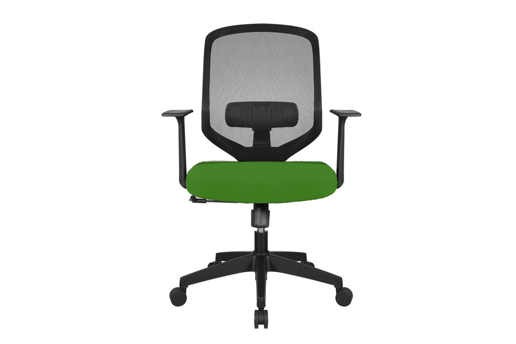 UNO Office Task Chair with Green Seat and Nylon Base Front View