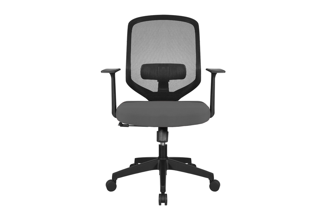 UNO Office Task Chair with Grey Seat and Nylon Base Front View