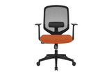 UNO Office Task Chair with Orange Seat and Nylon Base Front View