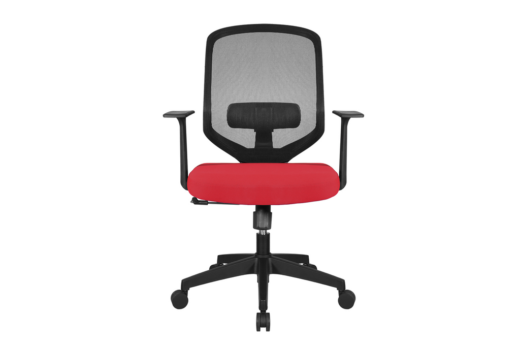 UNO Office Task Chair with Red Seat and Nylon Base Front View
