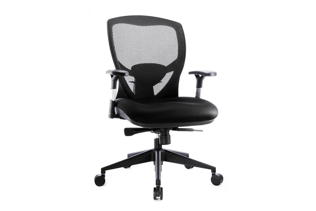 Venus Office Executive Chair with Midback Mesh Backrest and Nylon Base and Casters Right Angled View