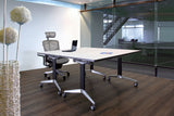 Cluster of 2 Y2 Foldable Training Table with White Table Top in Conference Meeting Room