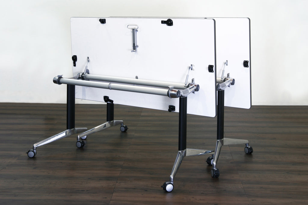 Y2 Foldable Training Table with White Table Top in Nested Setup