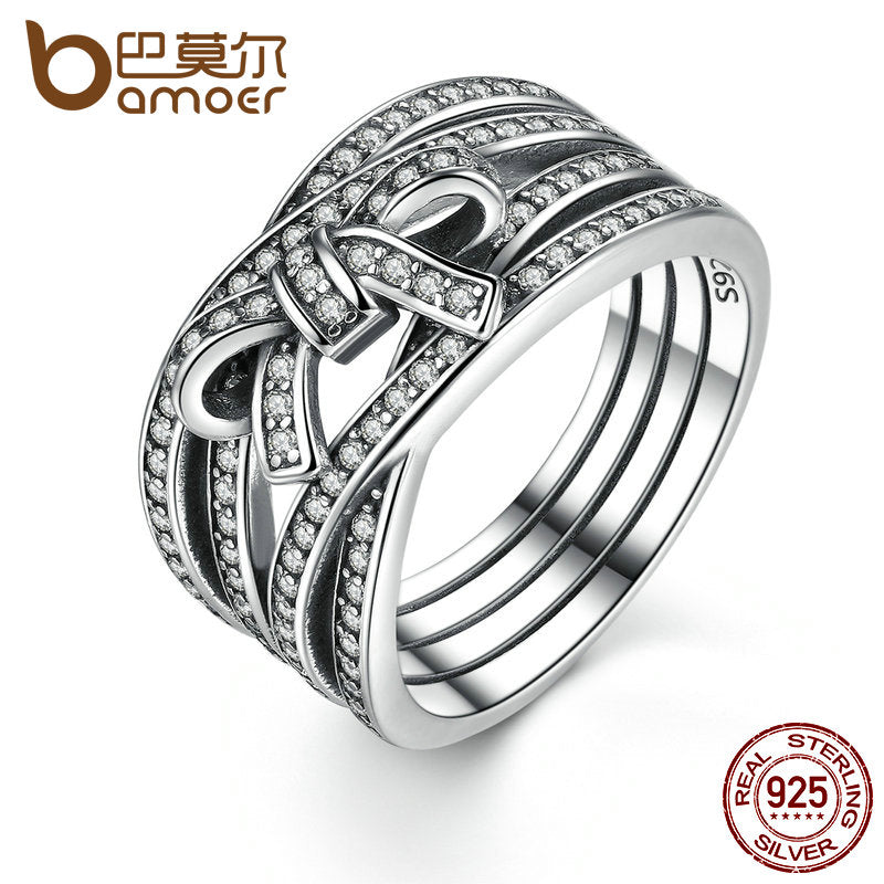 New Classic 925 Sterling Silver Ring For Women  Cubic Zirconia