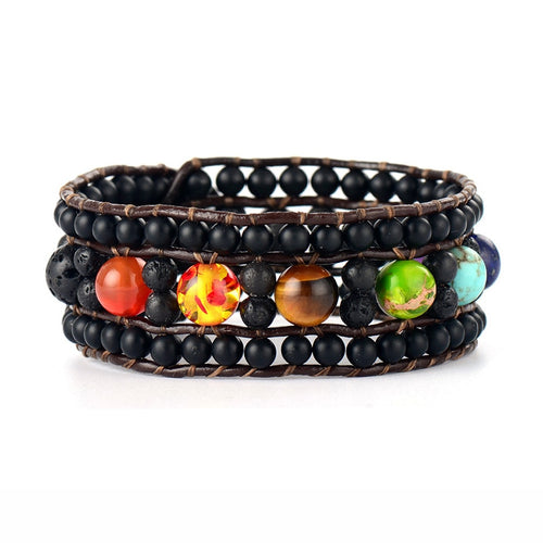 Chakra Leather Wrap Bracelets -Handmade (Contact us for more information)
