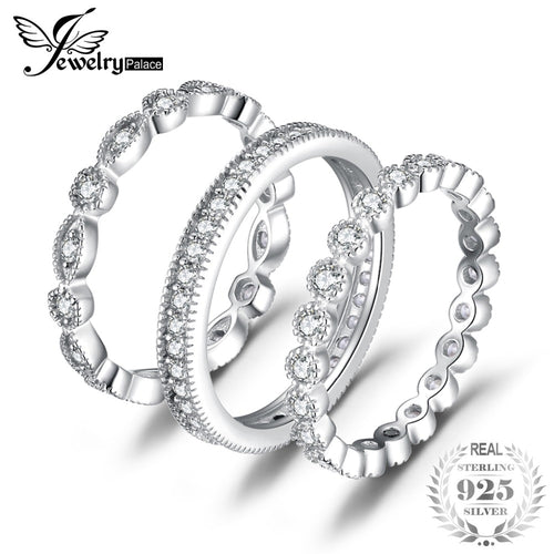 Cubic Zirconia 3 Eternity  Ring For Women Pure 925 Sterling Silver
