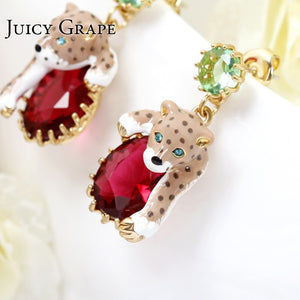 Leopard Red Cristal Sexy Elegant Women Earrings .