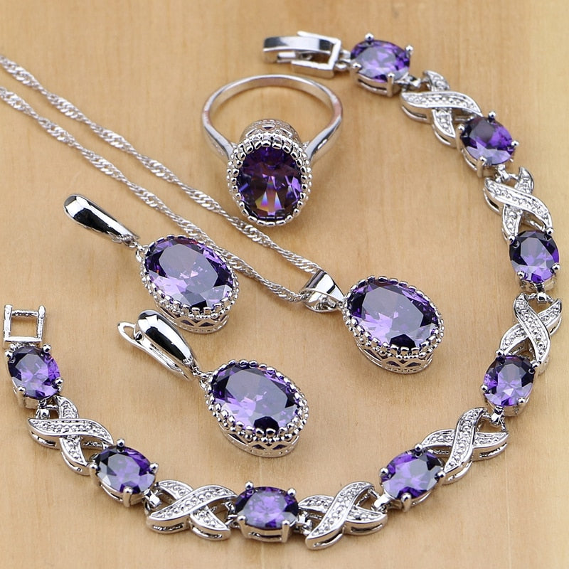 925 Silver Jewelry Purple Cubic Zirconia  Set For Women Earring/Pendant/Necklace/Ring/Bracelet  FREE SHIPPING