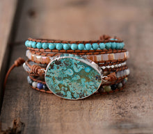 Load image into Gallery viewer, Women Leather Bracelet Unique Mixed Natural Stones-Handmade