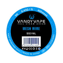 Load image into Gallery viewer, 5ft Vandy vape SS316L Mesh Wire 400mesh
