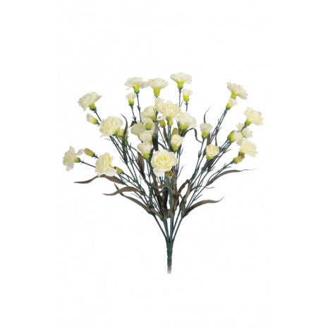Artificial Carnation Bush, Cream, 48cm