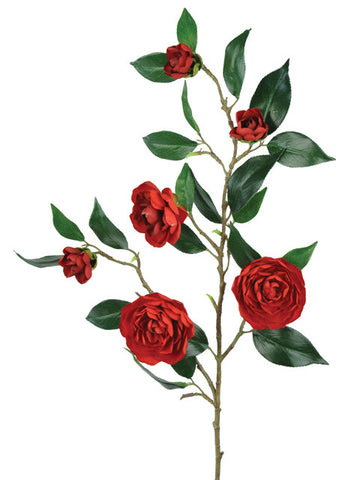 Artificial Camelia Spray, Red
