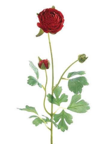Artificial Ranunculus, Long Stem, Red