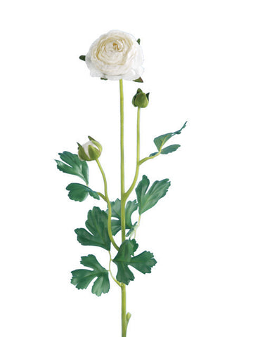 Artificial Ranunculus, Long Stem, White