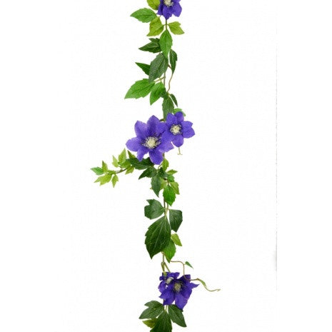 Artificial Clematis Garland, Purple/Blue