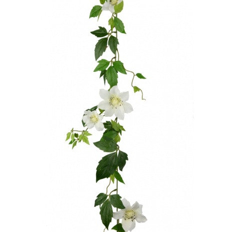 Artificial Clematis Garland, White