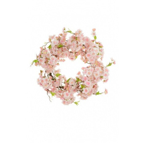 Artificial Japanese Blossom Luxury Wreath, Pink, 60cm
