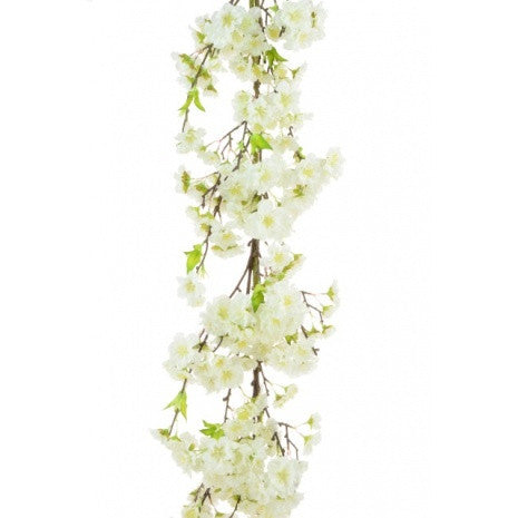 Artificial Japanese Blossom Luxury Garland, White / Cream, 120cm