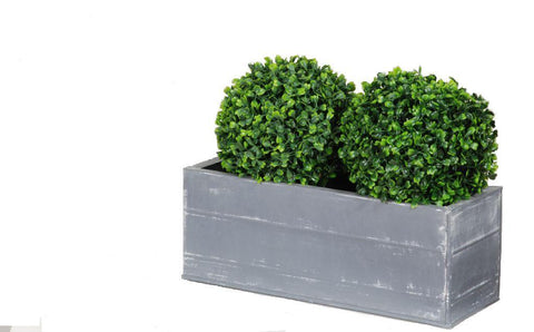 Artificial Topiary Box Ball Planter, Double