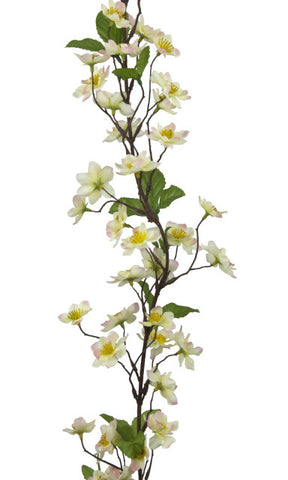 Artificial Apple Blossom Garland - White / Cream