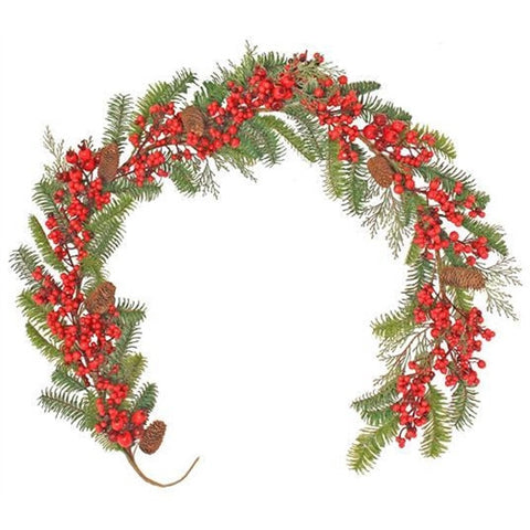 Christmas Garland: Luxury Artificial Pine and Berry 6ft