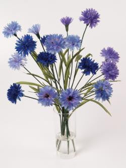 Artificial Flower Arrangement; Cornflowers in Cylinder Vase