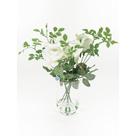 Artificial Flower Arrangement; Artificial Roses in Vase, White
