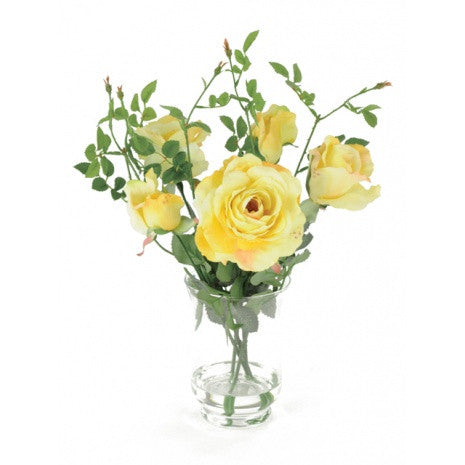 Artificial Flower Arrangement; Artificial Roses in Vase, Yellow.