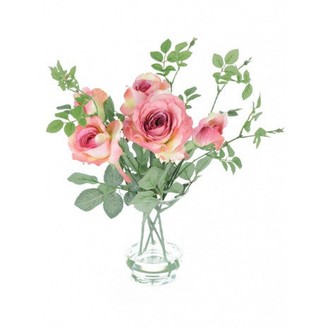 Artificial Flower Arrangement; Artificial Roses in Vase, Pink