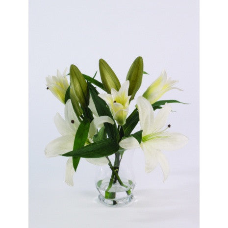 Artificial Flower Arrangement; Artificial Lilies in Flared Vase, White