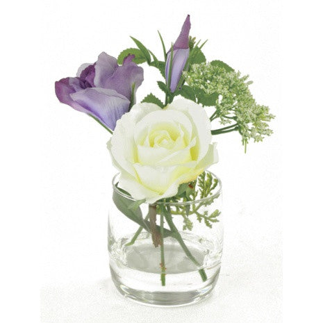 Artificial Flower Arrangement; Lisianthus and Rose Mix in vase, Purple/White