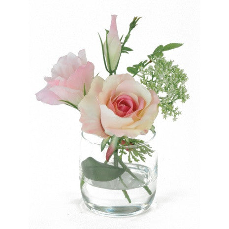 Artificial Flower Arrangement; Lisianthus and Rose Mix in vase, Pink