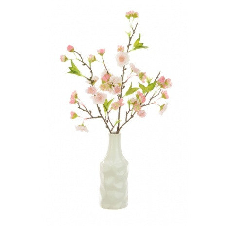 Artificial Flower Display - Cherry Blossom in Textured Bottle- Deep Pink