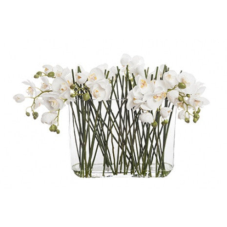 Artificial Flower Arrangement - Phalaenopsis Orchid in Tank Vase (44cm)