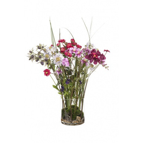 Artificial Flower Arrangement - Summer Mix in Vase (60cm)