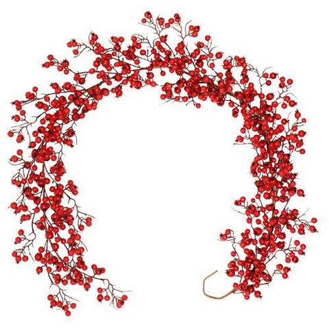 Christmas Luxury Festive Red Berry Garland, 180cm / 6ft