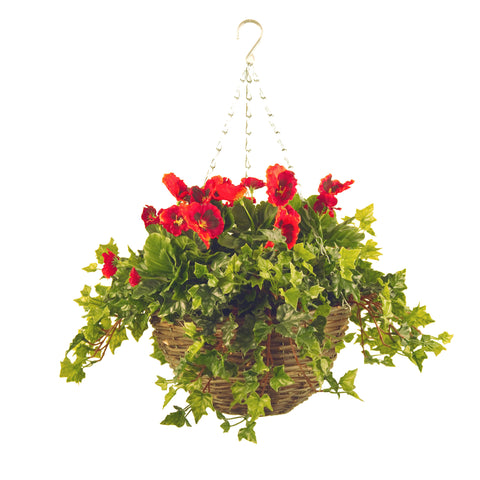 Artificial Hanging Basket, Pansy & Ivy Small, Purple