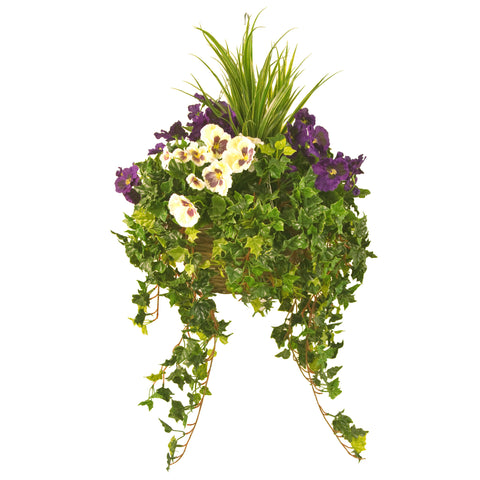 Artificial Hanging Basket,  Pansy & Ivy Large, Purple/White Mix