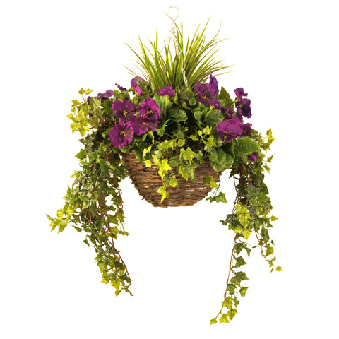 Artificial Hanging Basket, Pansy & Ivy Large, White