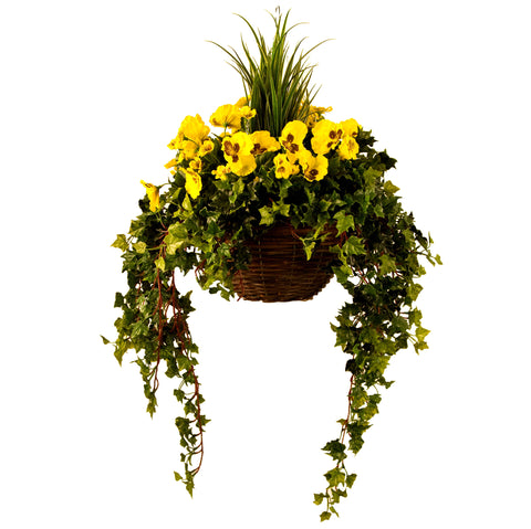 Artificial Hanging Basket, Pansy & Ivy Large, Yellow