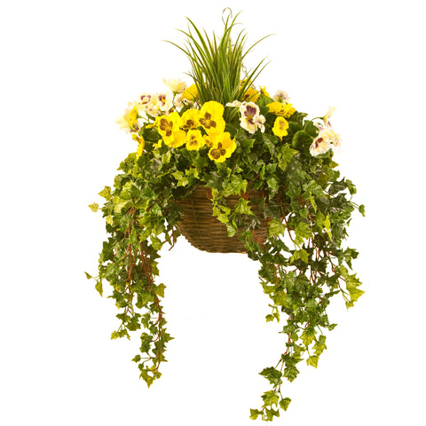 Artificial Hanging Basket,  Pansy & Ivy Large, Yellow/White Mix
