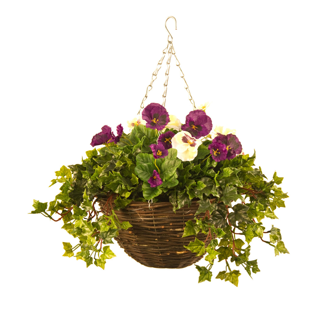 artificial hanging basket pansy ivy small pink white. Black Bedroom Furniture Sets. Home Design Ideas