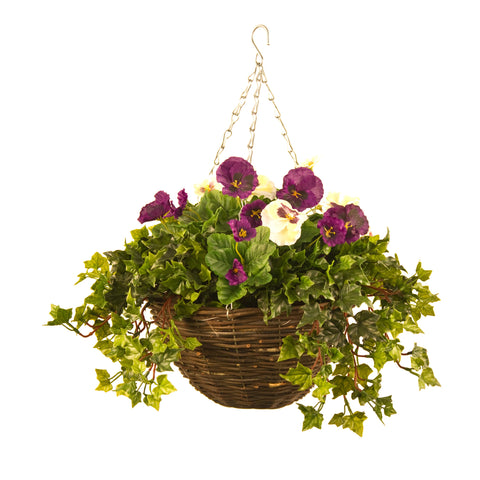 Artificial Hanging Basket, Pansy & Ivy Small, Yellow/Orange Mix