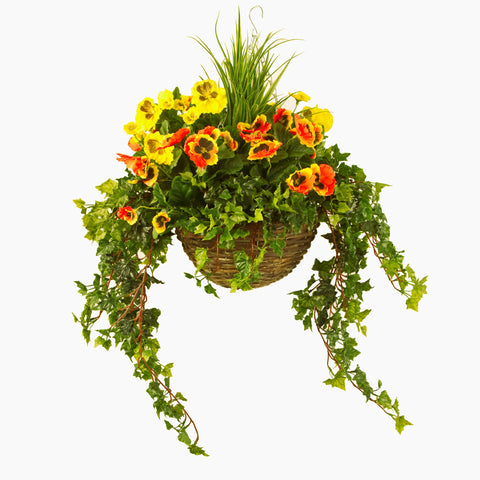 Artificial Hanging Basket,  Pansy & Ivy Large, Yellow/Orange Mix
