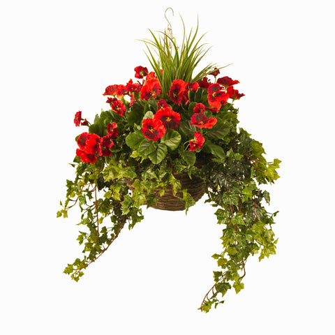 Artificial Hanging Basket, Pansy & Ivy Large, Red
