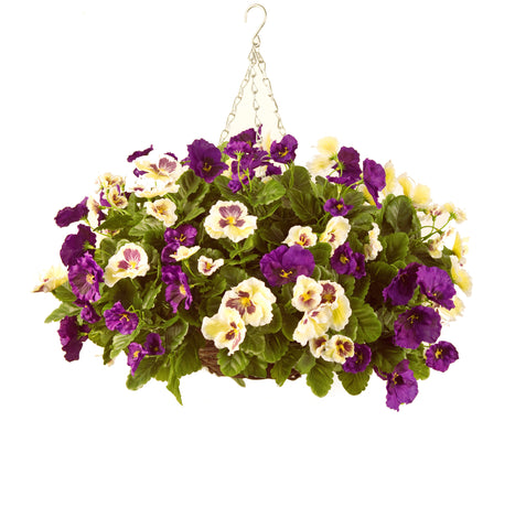 Artificial Hanging Basket, Pansy Ball, Purple/White