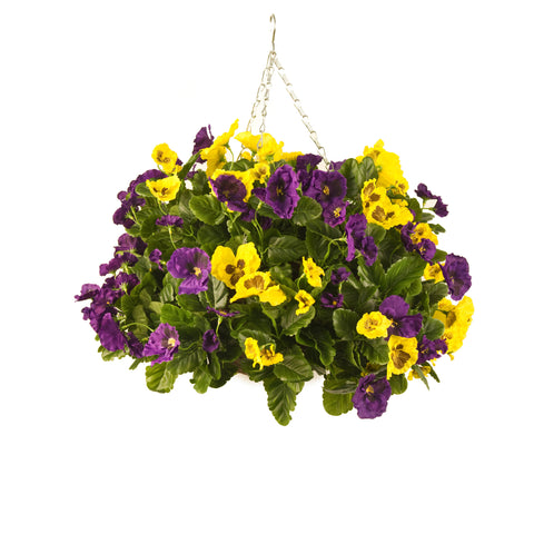 Artificial Hanging Basket, Pansy Ball, Purple/Yellow