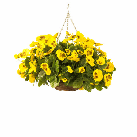 Artificial Hanging Basket, Pansy Ball, Yellow