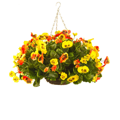 Artificial Hanging Basket, Pansy Ball, Yellow/Orange