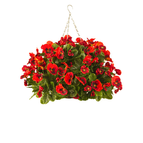 Artificial Hanging Basket, Pansy Ball, Pink